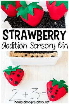 For your upcoming strawberry theme create a strawberry math sensory bin. Work on addition with this hands-on activity. Preschool Learning Activities, Preschool Themes, Preschool Printables, Teaching Kindergarten, Hands On Activities, Toddler Activities, Preschool Activities, Kids Learning, Number Activities