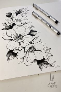 Next Flowers, Watercolor Plants, Floral Drawing, Black Work, Neo Traditional, Flower Tattoo Designs, Toronto Canada, Floral Illustrations, Drawing Tutorials