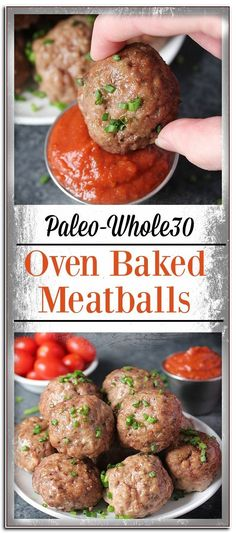 Easy Oven Baked Paleo Meatballs- tender, flavorful and so delicious! Ready in under 30 minutes. Gluten free, and dairy free. Easy Oven Baked Paleo Meatballs- tender, flavorful and so delicious! Ready in under 30 minutes. Gluten free, and dairy free. Easy Healthy Recipes, Gluten Free Recipes, Real Food Recipes, Healthy Snacks, Easy Meals, Lunch Recipes, Food Tips, Cooking Recipes, Cooking Tips