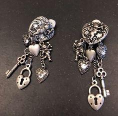 """Cupid Heart Lock Key Silver Tone Clip On Earrings 2.5"""" Vintage    eBay"""