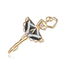 Dancing youth EXQUISITE brooch ( black + champagne gold )