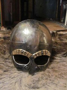 Replica of a viking helmet, of which fragments were found in Tjele, Denmark, dated about the second half of the 10th century CE. http://sagy.vikingove.cz/scandinavian-helmets-of-the-10th-century/