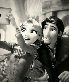 Black and white punk Rapunzel and Flynn Rider.