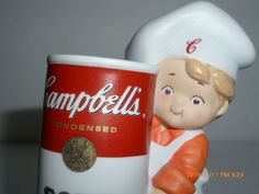 NEW Campbell's Soup Kids Porcelain Figurine Boy Chef Holding Soup Can 2003 #Campbells