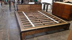 Shiloh wood working art & craft: Bed frame Industrial Type oak Recycle wood quen si...