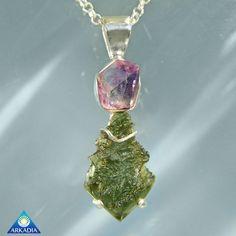 Amethyst Herkimer & Moldavite Custom Pendant by ArkadianCollection