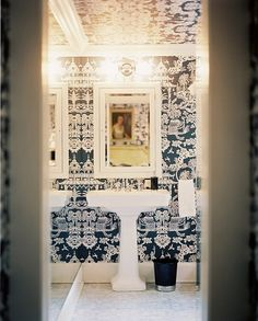 Asian Bathroom design ideas and photos to inspire your next home decor project or remodel. Check out Asian Bathroom photo galleries full of ideas for your home, apartment or office. Room Wallpaper Designs, Powder Room Wallpaper, Bathroom Wallpaper, Wallpaper Ideas, Wallpaper Ceiling, Wall Wallpaper, Chic Wallpaper, Graphic Wallpaper, Beautiful Wallpaper