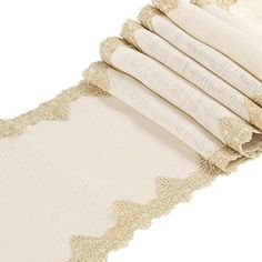 """Ling's moment 12""""x72"""" White Burlap Hessian Table Runner With Victorian Lace"""