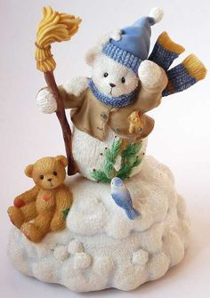 Heidi´s Cherished Teddies Galerie: Snowman With Scarf & Broom Action Musical - Spieluhr mit Schneemann BUDDY (785334)