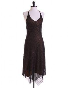 Black Beaded Halter Dress by BCBGMAXAZRIA - Size  XS - $63.95 on LikeTwice.com