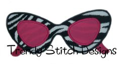 Sunglasses Applique Design Machine by trendystitchdesigns on Etsy