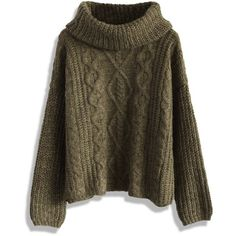 Chicwish Cable Knit Roll Neck Sweater in Olive ($59) ❤ liked on Polyvore featuring tops, sweaters, green, army green sweater, green top, loose cable knit sweater, roll neck sweater and olive green top