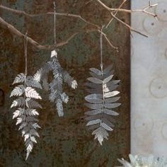 Silver filigree ornaments by Roost in the shape of Ironwood, Redwood, and Fir branches available at DIGS