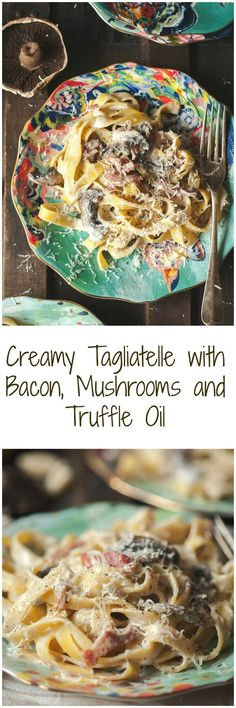 This creamy pasta with bacon and portobello mushrooms is the ultimate date night treat! Quick and absolutely delicious! Truffle Oil, Truffle Recipe, I Love Food, Good Food, Yummy Food, Yummy Recipes, Cooking Recipes, Risotto Cremeux, Bacon Pasta