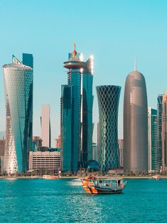 Doha Skyline - Qatar: The Stylish Honeymoon Destination - chiara Beautiful Places To Visit, Cool Places To Visit, Places To Travel, Dubai Tourist Spots, Doha Skyline, Qatar Travel, Bangalore City, Overseas Jobs, Qatar Doha