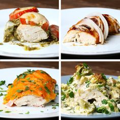 Chicken Bake Four Ways First one is chicken pesto tomato cheese Second is chicken bbq onion Third is chicken ranch bacon cheese Fourth is chicken alfredo broccoli cheese New Recipes, Dinner Recipes, Cooking Recipes, Healthy Recipes, Simple Recipes, Recipies, Baked Chicken, Chicken Recipes, Pesto Chicken