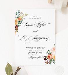 Fall Wedding Invitation Template Instant Download Templett Printable E