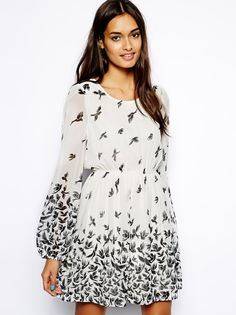Beige Long Sleeve Birds Print Short Dress