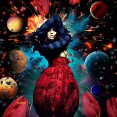 Explosive. #collage #digital #art #vogue #paris #2004 #photo #craig #mcdean #model #morgane #dubled #planets #grunge #tulips #explosion #meteor #flames #asteroid #Suzette