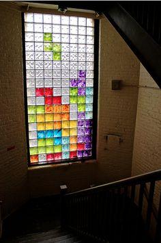 tetris stained glass window.
