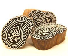 Small Paisley Henna Design Indian Wood Block Stamp Flower in Center | catfluff - Craft Supplies on ArtFire
