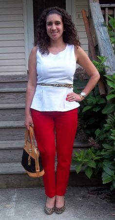 Red pants, leopard shoes, & white dressy top