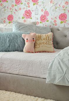 Dear Lillie: Happy Saturday and a Little Peek at Lola's Room Cute Cushions, Dear Lillie, Little Pigs, Happy Saturday, Pottery Barn Kids, New Room, Home Decor Bedroom, My Dream Home, Girl Room
