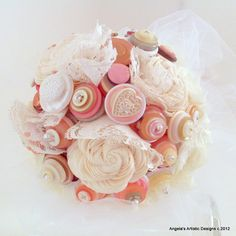 Romantic button bouquet! Lace Button Wedding Bouquet  Alternative non by AngelasArtistic, $76.00