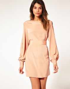 asos: tunic dress, featuring a high slash neckline, blouson sleeves with a split to the centre and a buttoned cuff, tie fastening to the waist...