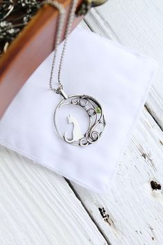 Cat and Moon silver pendant - Sterling silver jewelry - wire wrapped necklace - gift for women - cat jewelry