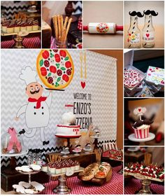 Birthday Pies For Everyone! The Cutest Pizza Party Ever Birthday Pies, Pizza Party Birthday, 5th Birthday, Kids Pizza Party, Cute Pizza, Sweet Pizza, Restaurant Themes, Party Plan, Pizza Party