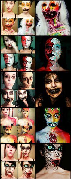 Halloween makeup inspiration  cool-makeup-transformations-scary-wig