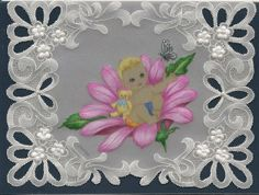 By Carolyn C. Pergamano Parchment Craft.  Baby card.