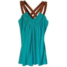 akiko $215 stretchy aqua green modal top w/leather straps~M ❤ liked on Polyvore