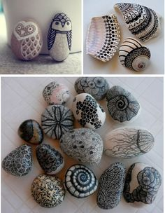 Great idea for making cute, cheap and unique paper-weights - with a Sharpie marker and rocks/shells ! :)