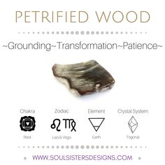 Metaphysical Healing Properties of Petrified Wood, including associated Chakra, Zodiac and Element, along with Crystal System/Lattice to assist you in setting up a Crystal Grid. Go to https:/wwwsoulsistersdesigns.com to learn more!