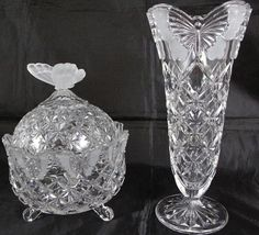 """Cristallo Cut Lead Crystal Frosted Butterfly Finial Covered 3- Footed Candy Dish and  10"""" Butterfly Rim Footed Vase"""