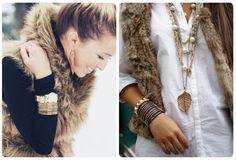 Love the furry vest & the necklaces