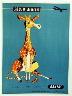 Vintage Poster / Retro Poster South Africa Qantas Airways