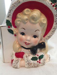 Vintage Christmas Headvase Lady Blonde NAPCO Girl Red Green Planter Head Vase