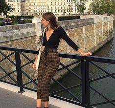 high waisted check trousers, black low cut top