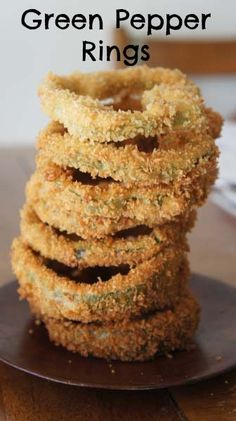 Dont know why I never tried this before.... website even suggests Asparagus...Deep Fried Green Pepper Rings...oh so good. #food #recipe
