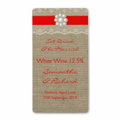 RED LACE AND PEARL BURLAP WEDDING WINE LABELS