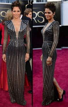 Halle Berry in Art Deco inspired dress at the Oscars 2013