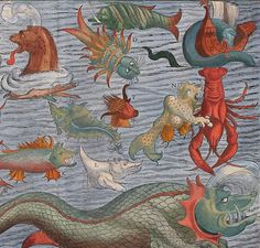 Detail from a version of Sebastian Münster's sea monster chart (ca.1544), composed from copies of the vignettes found in Olaus Magnus's Carta Marina from 5 years earlier.