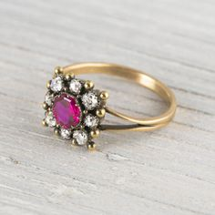 Image of .55 Carat Victorian Ruby & Diamond Engagement Ring at Erstwhile Jewelry