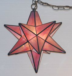 Moravian Star Stained Glass Lamp Lantern by DodgeGlassStudio