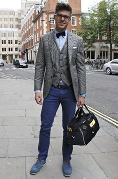 Street Stylin' it in Covent Garden for London Collections: MEN...so cute on him!