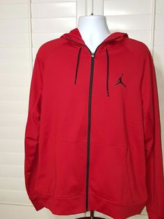 22fd8096bbf457 Jordan 360 Fleece Full Zip Hoodie Mens Red Therma Fit Hoody Size XL New wth  Tags