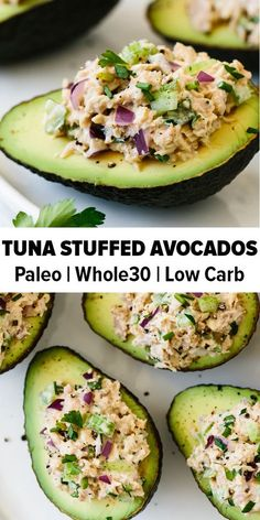 Tuna stuffed avocados are a delicious low-carb, keto, and paleo-friendly. Tuna stuffed avocados are a delicious low-carb, keto, and paleo-friendly lunch or snack recipe. A simple combination of tuna salad and avocado. Lunch Recipes, Paleo Recipes, Recipes Dinner, Healthy Avocado Recipes, Simple Healthy Recipes, Tuna Lunch Ideas, Health Food Recipes, Simple Snacks, Soft Food Recipes